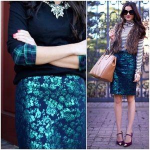 Jcrew the pencil skirt teal green floral brocade